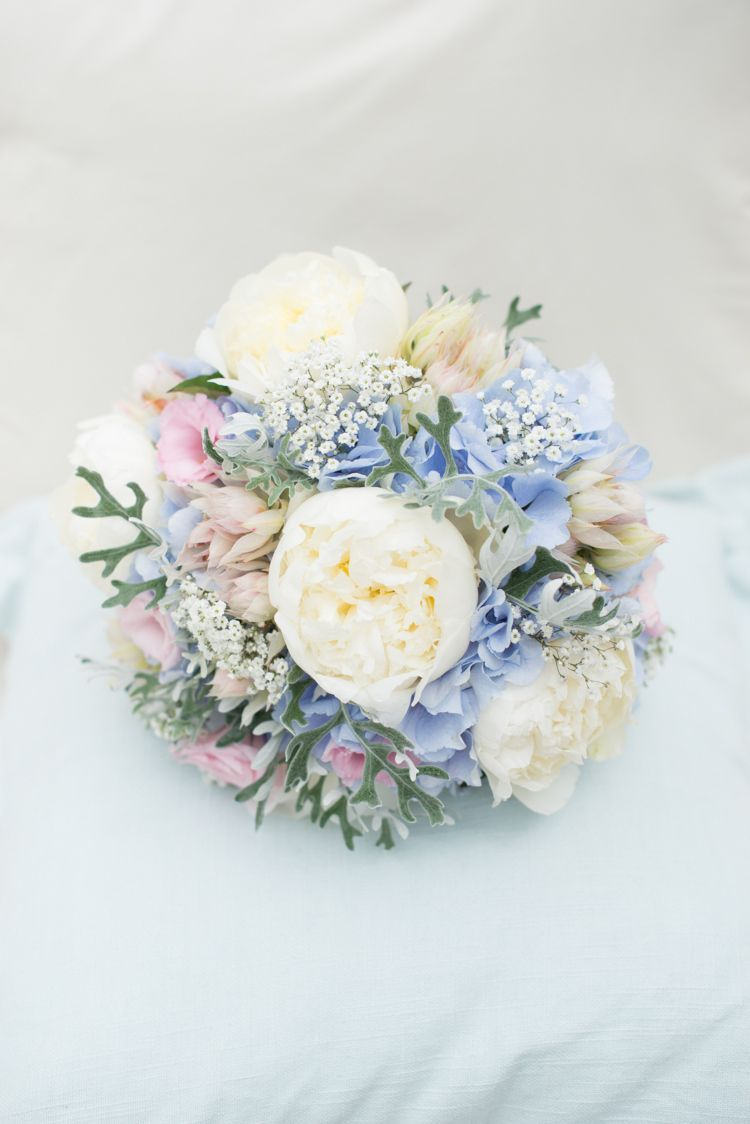 Pink Blue Peony Bouquet Hydrangea Bride Bridal Flowers Pretty Pastel