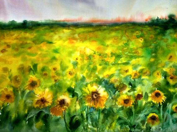 Sunflower Field Painting Original Landscape Sunflowers