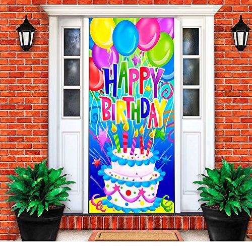 Amazon Com Stretch Polyester Happy Birthday Decoration Indoors Outdoors Door Cover Sock Patio Law Birthday Door Decorations Birthday Door Door Decorations