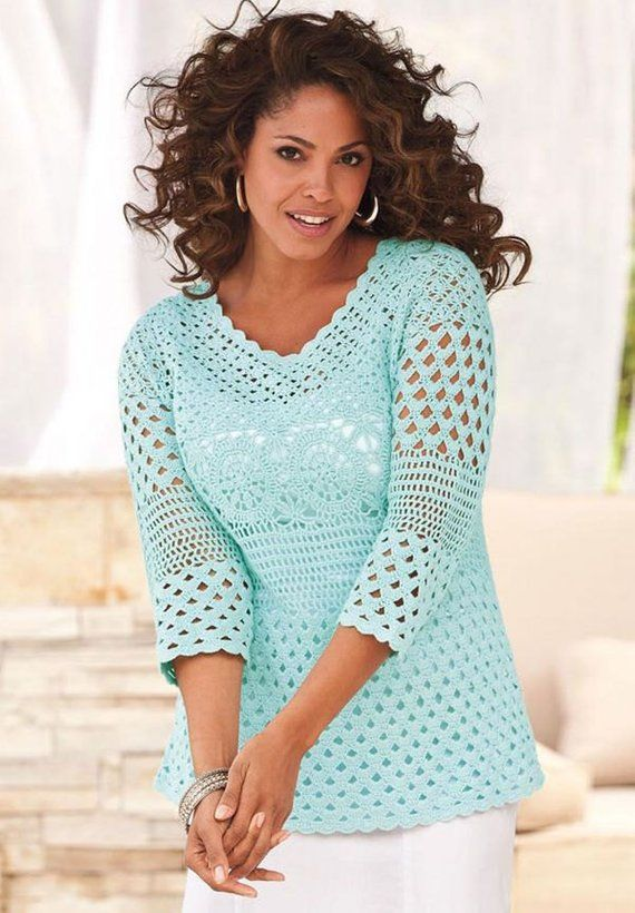Plus size crochet PATTERN, PDF tutorial + detailed HQ charts, crochet tunic pattern, X-size tunic pattern, big size, large size crochet #crochettunicpattern