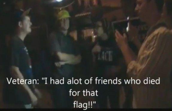 "#BlackLivesMatter Protesters Disrespect Veteran, Stomp on US Flag – ""F*ck This Flag!"" (VIDEO)  June 14, 2015 by Jim Hoft    Read more: http://www.thegatewaypundit.com/2015/06/blacklivesmatter-protesters-disrespect-veteran-stomp-on-us-flag-fck-this-flag-video/#ixzz3d9PopNrL"