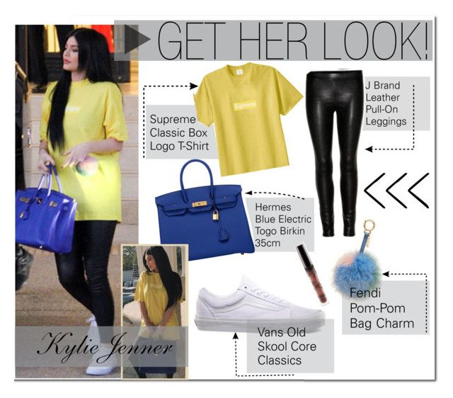 """Kylie Jenner : Yellow T-Shirt, Leather Leggings"" by x-pastelkitty-x ❤ liked on Polyvore featuring Hermès and Vans"