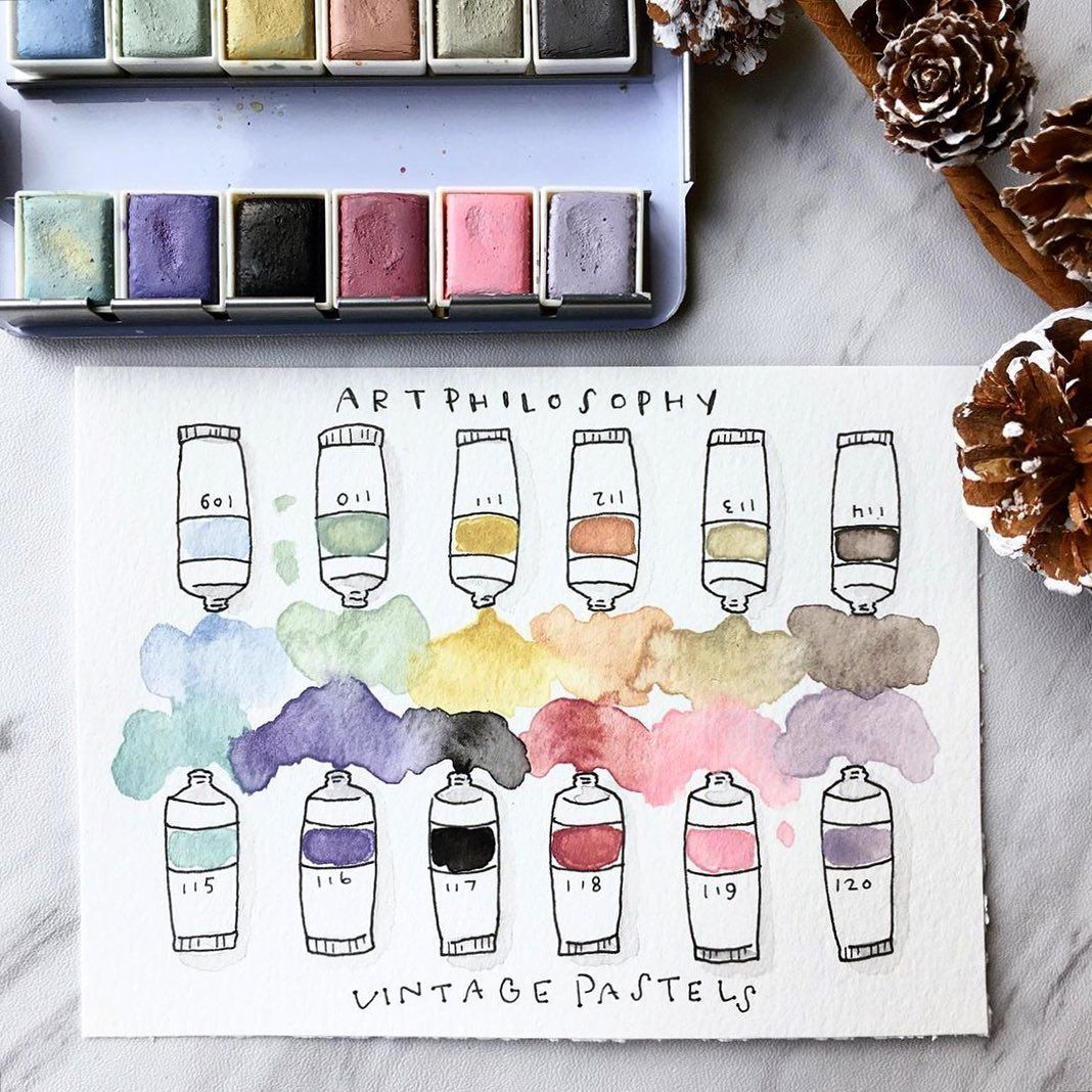 Art Philosophy Inc On Instagram So Adorable Vintage Pastel Color Swatches Repost Lett Coloring Journal Art Supplies Drawing Watercolor Palette