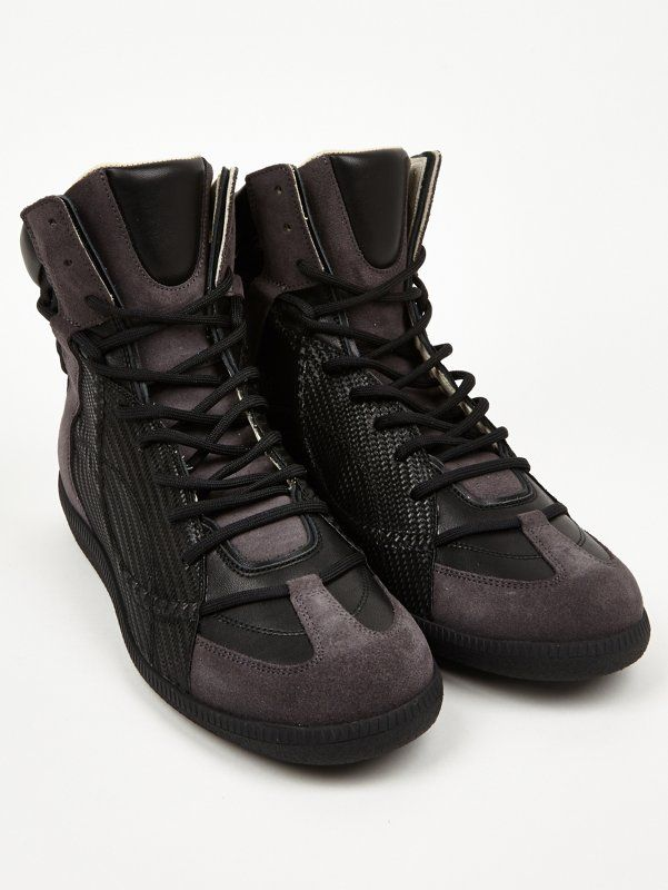 Maison Martin Margiela 22 Men's Black Woven Hidden Lace High-Top Sneakers   oki-ni