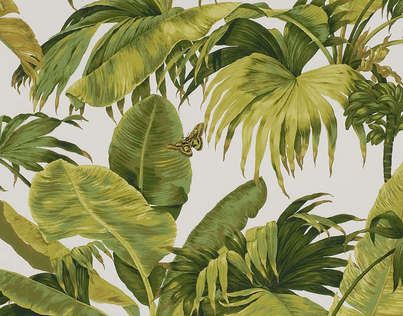 W4630A03 Bananier by Boussac: Banana and coconut trees lulled by trade winds. Wallpaper screen printed by hand // Ethnic Chic - Home Couture - Online Shop - Worldwide Shipping