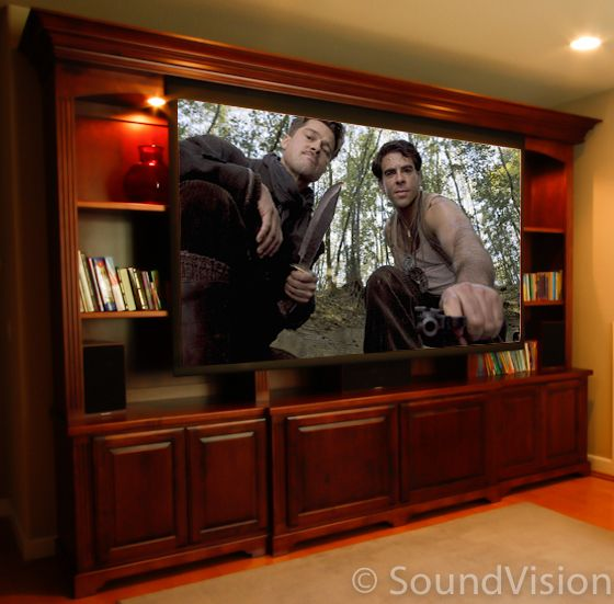 Theater Room With Hidden Projector: Hidden Projector With Motorized Drop Down Screen