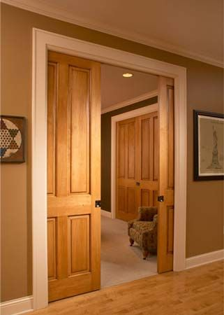 Bedroom hallways this color walls wood doors with white for Wood doors with white trim pictures