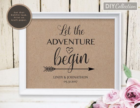 Rustic Wedding Sign Template Printable Let The Adventure Begin 8 X10 Instant Gd Ws110