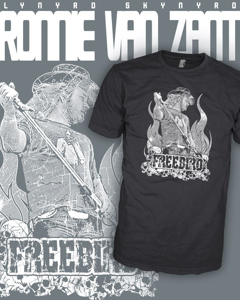 ee90e53da ... Gibson Les Paul Guitar Shirt. Lynyrd Skynyrd Band - Ronnie Van Zant -  Freebird Rock T-Shirt