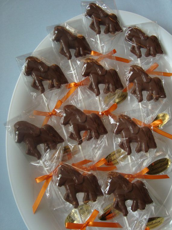 12 Chocolate Horse Pony Lollipop Animal Birthday Party Favor Farm Circus