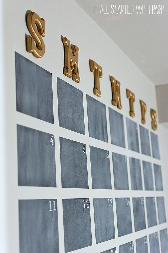Chalkboard paint oversized wall calendar