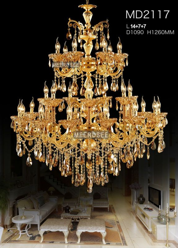 About Large 3 Tiers Gold Crystal Chandelier Lighting Big Cristal Res Light Fixture 28 Arms For Hotel Md2117 High Quality