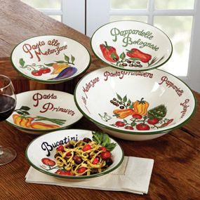 CHEFS Verona Pasta Bowls Italian pasta serving bowls with vibrant ...