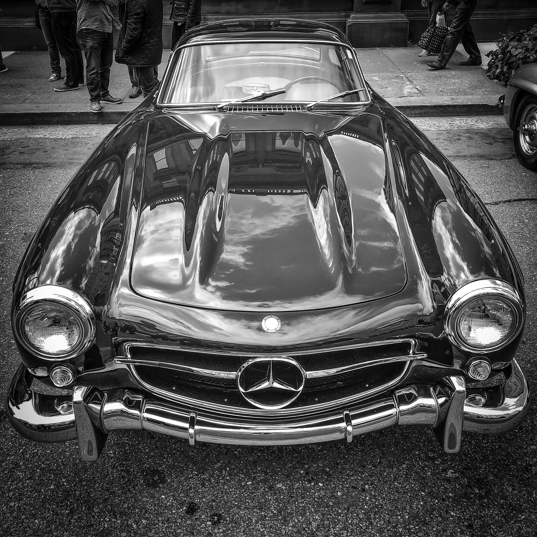 Black Benz | Automotive Art | Mercedes Benz | Restaurant Decor | Classic Car | Black & White | Canvas Art | Hotel Decor