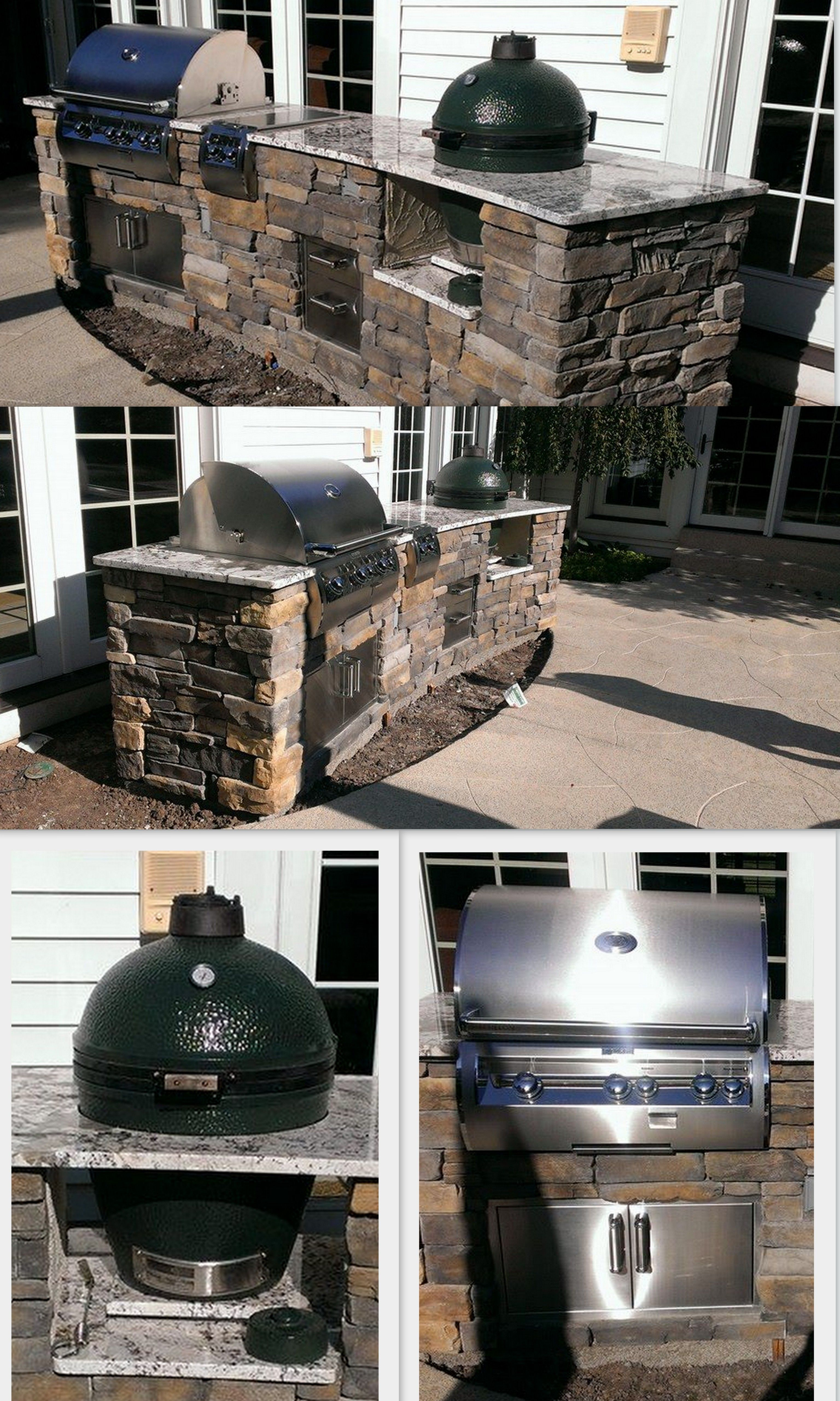 Custom outdoor kitchen with gas grill and Big Green Egg