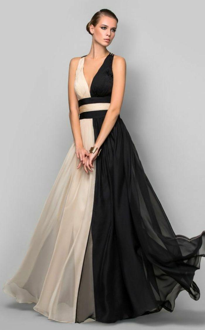 fc0fdfb0aa7 robe de soirée pas cher en noir et blanc avec décolleté en V et ceinture en  tissu en noir et blanc