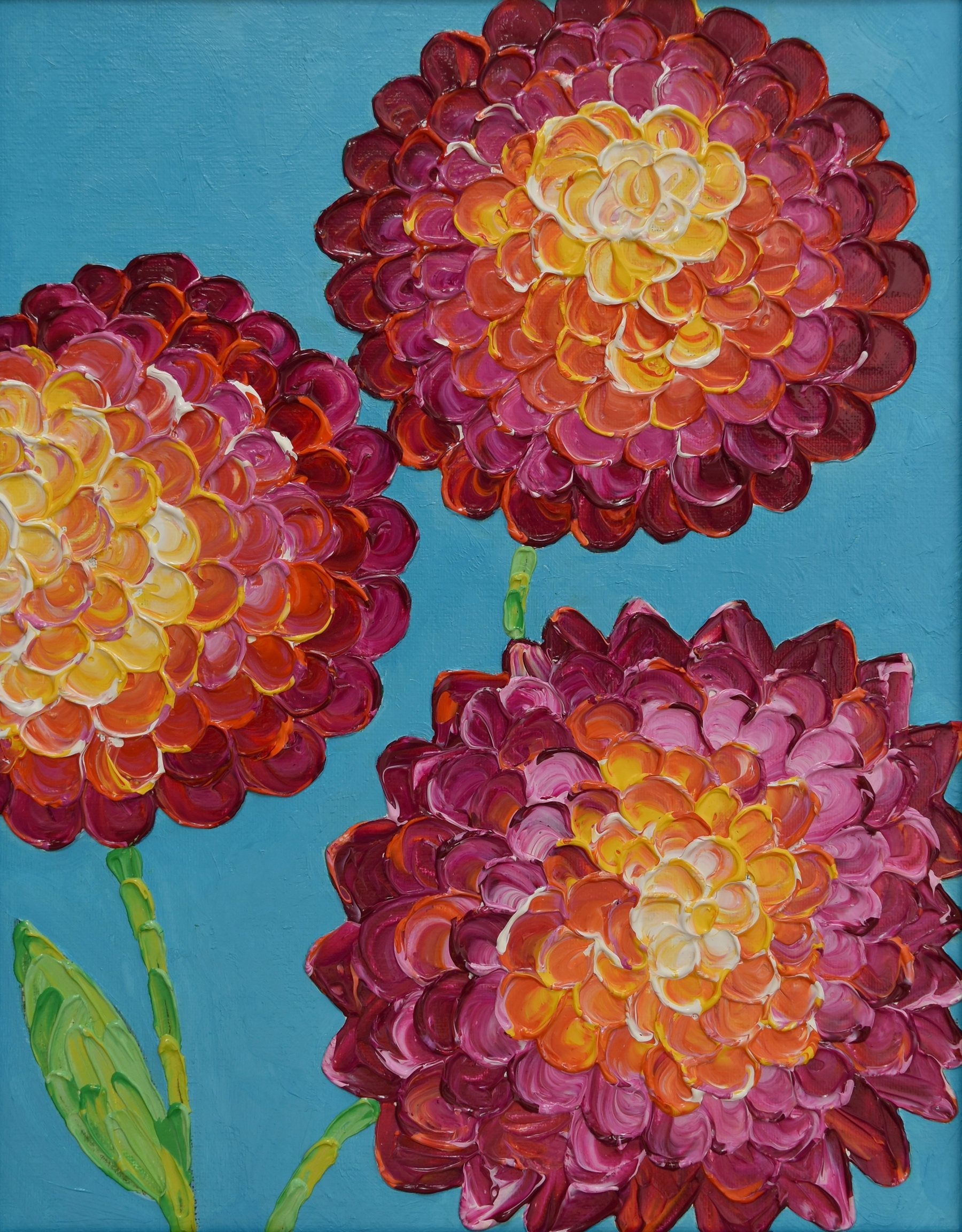Small Flower Painting     Textured Flower     Thick Paint     11x14