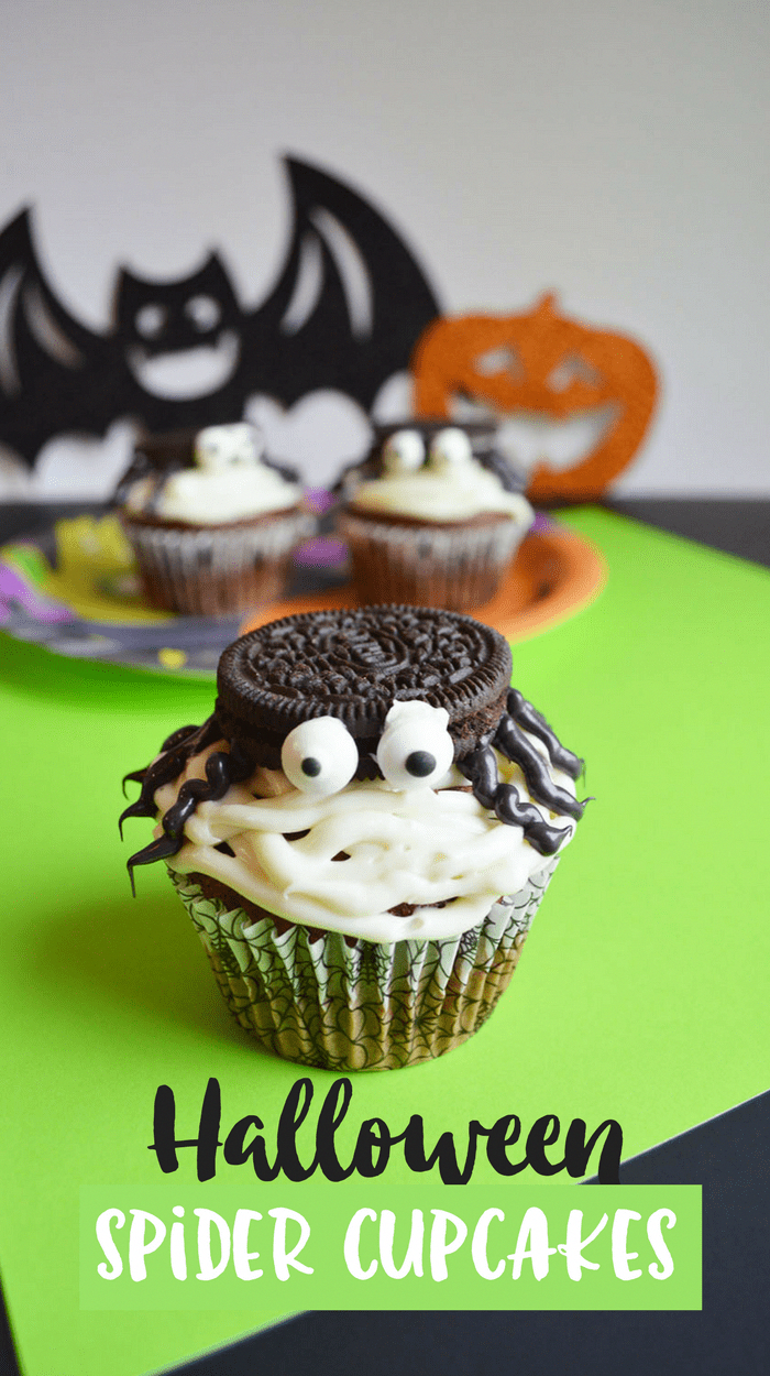 Create a batch of these simple halloween spider cupcakes use