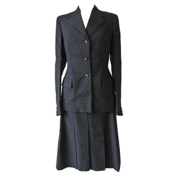 Vintage charcoal worsted 1940s Hepworths skirt suit at Candy Says Vintage Clothing www.candysays.co.uk