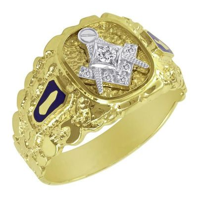 Men 39 S Diamond Accent Masonic Nugget Ring In 10k Gold Save On