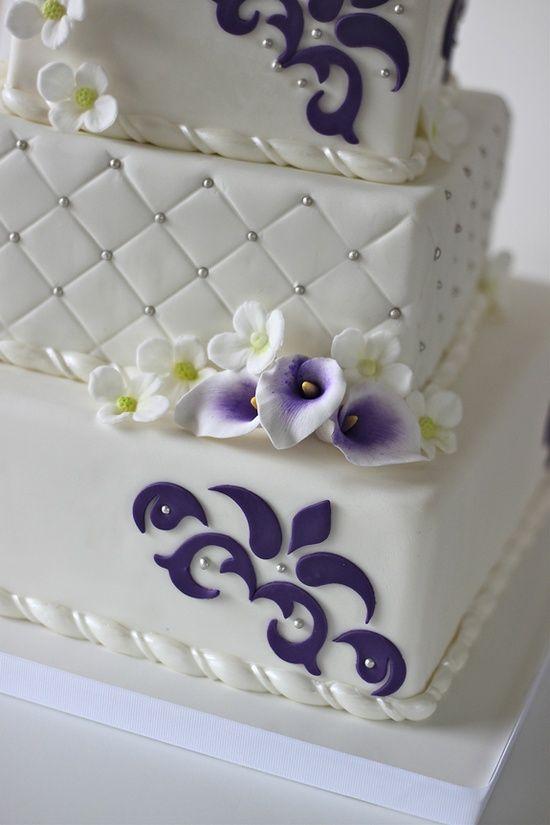 Purple And Silver Wedding Cakes   Sugar cala liles and hydrangea ...