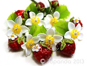 Juicy Lampwork glass Strawberries and blossoms...yum!!