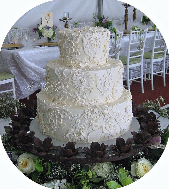 Elegant Ivory Wedding Cake with Lace Applique by Graceful Cake Creations, via Flickr