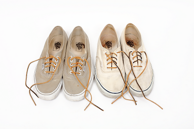 beige vans with leather laces
