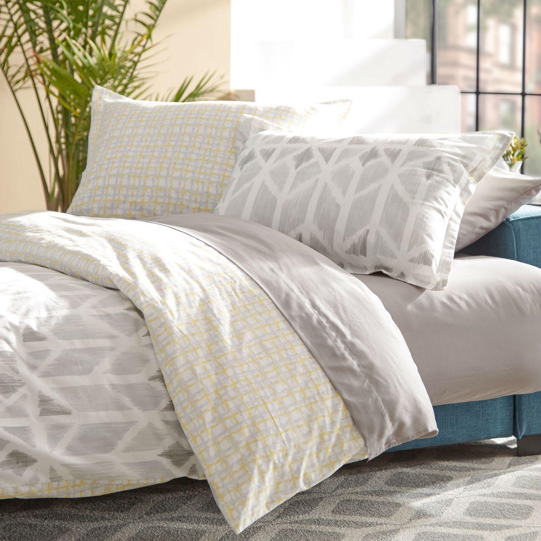 Full Queen Size 100 Cotton Comforter Set In Yellow Light Grey