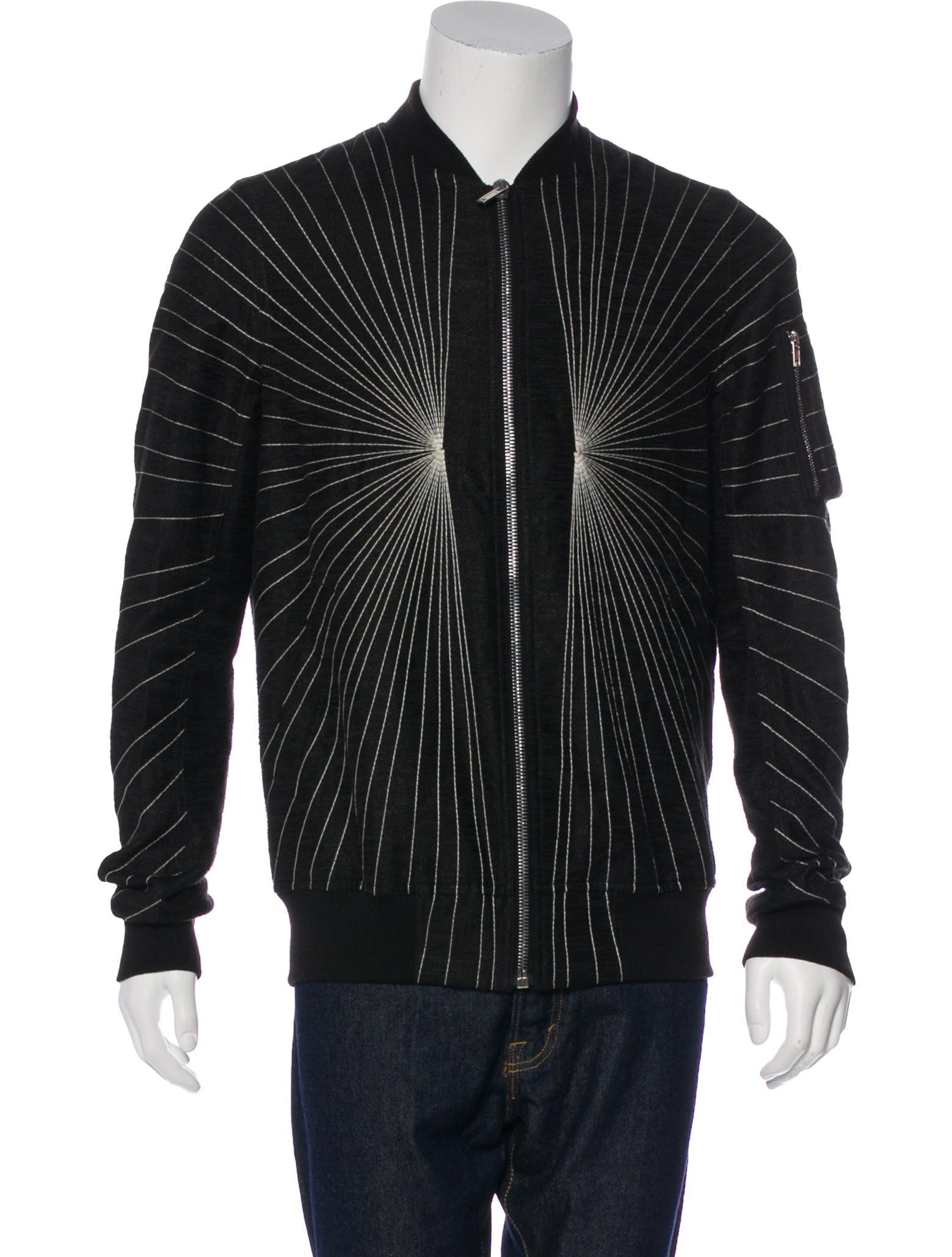 RICK OWENS 2017 LinenBlend Embroidered Bomber Jacket