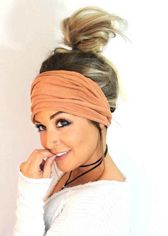 Cognac Scrunch Headband, Extra Wide Headband, Jers