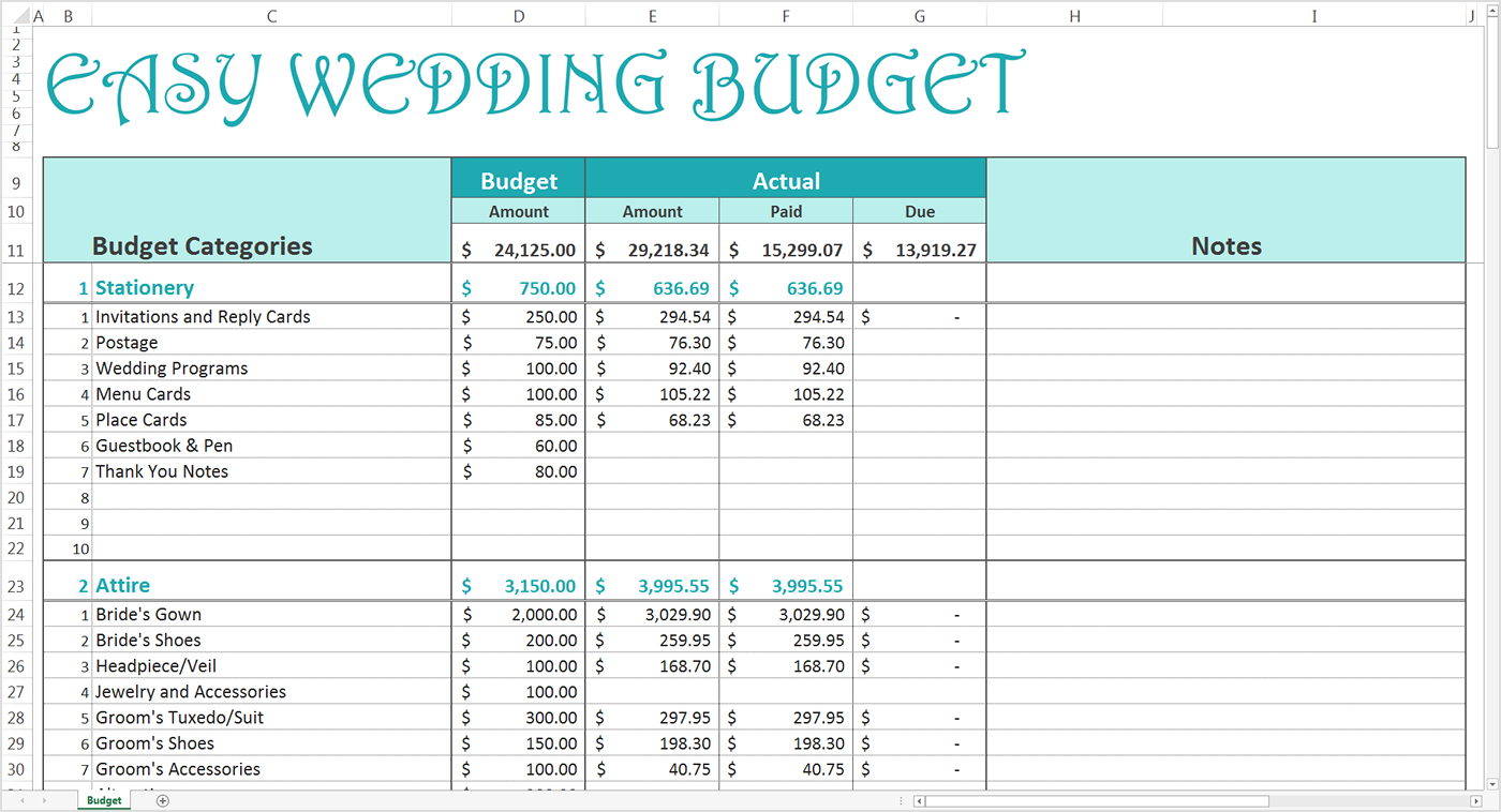 Free Wedding Budget Excel Template Savvy Spreadsheets Easy