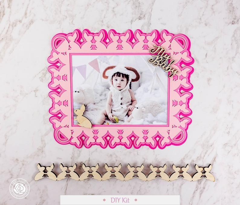 Personalized Diy Scrapbook Kit Diy Baby Girl Frame Kit Lebf0009y