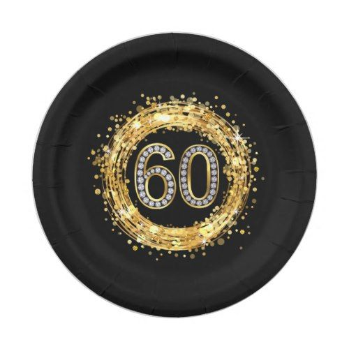 Diamond Number 60 Glitter Bling Confetti | gold Paper Plate  sc 1 st  Pinterest & Diamond Number 60 Glitter Bling Confetti | gold Paper Plate | Party ...