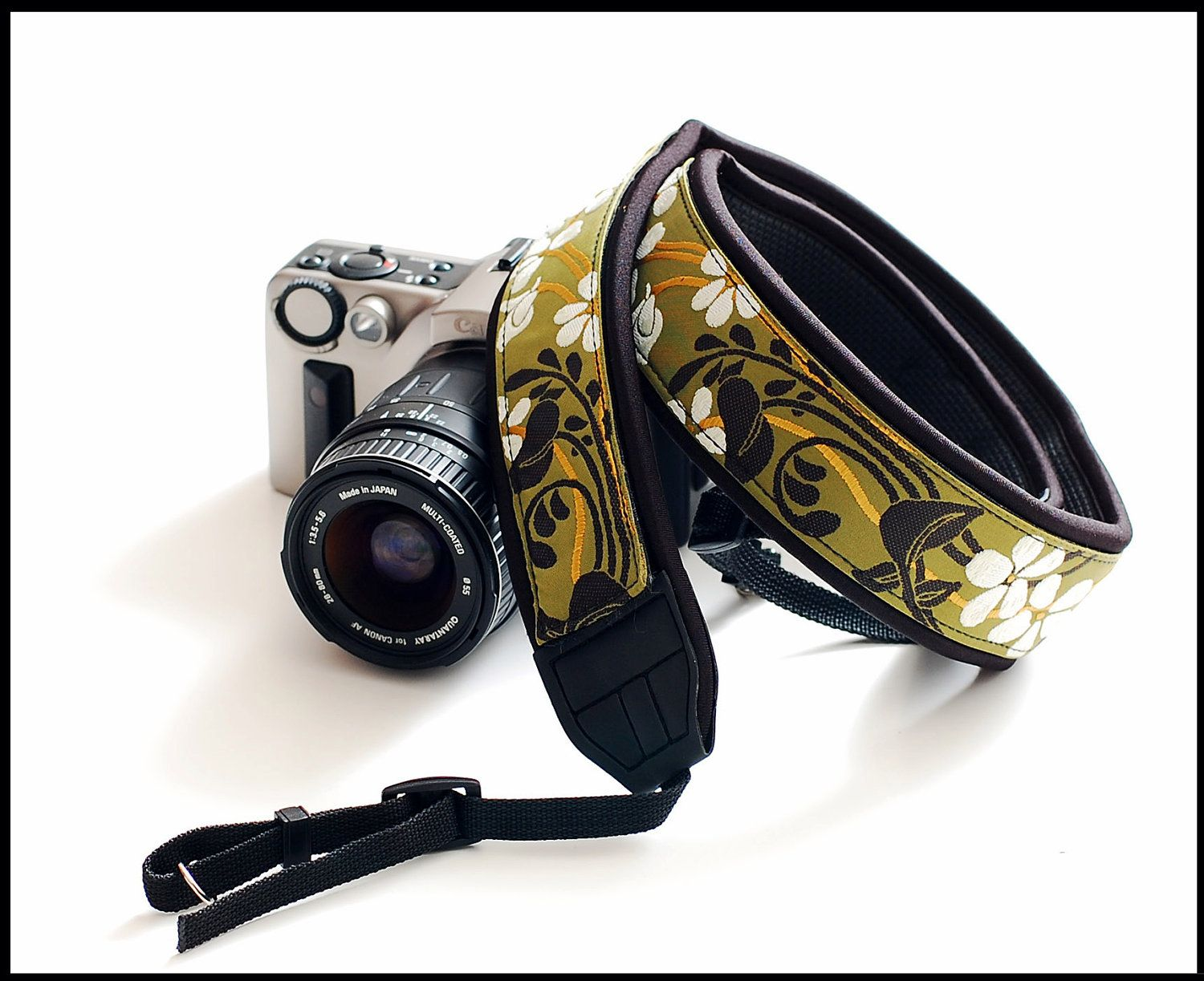 New camera strap in Interchangeable Design   - Olive delight  -  Custom Camera strap. $42.99, via Etsy.