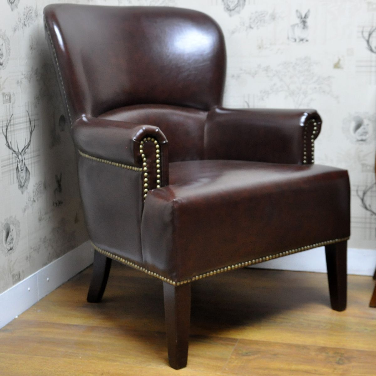 Brown Leather Studded Arm Chair | Winged armchair ...