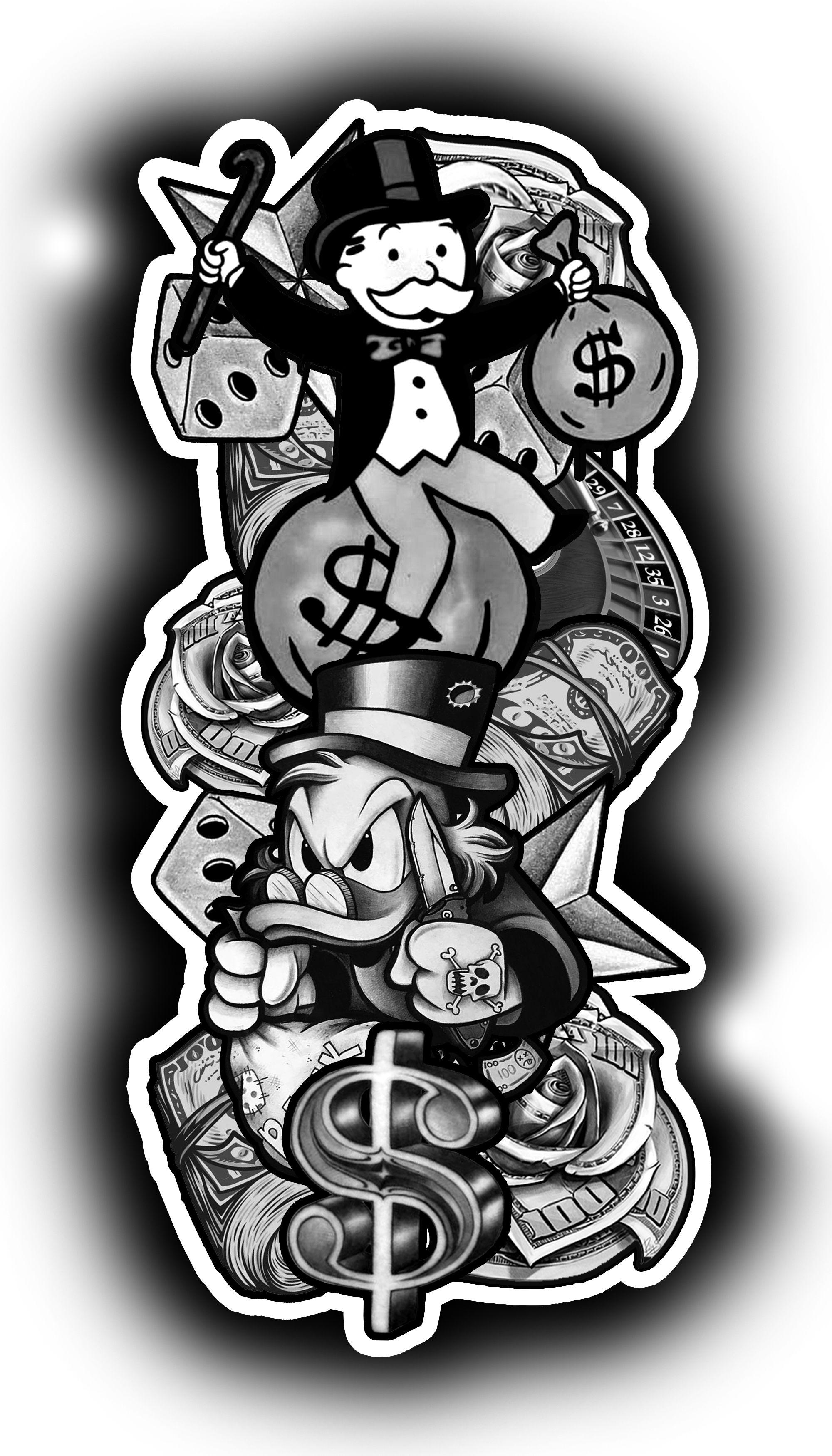 Gangster Monopoly Man Tattoo : gangster, monopoly, tattoo, Patinhas, Monopoly, Tattoo, Tatuagem, Palhaço,, Dinheiro,, Mitologia, Grega