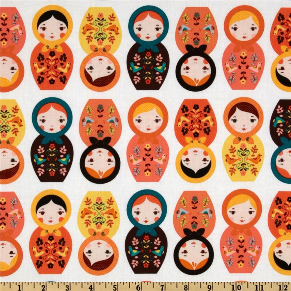 Little Kukla Wooden Dolls Retro Orange from @fabricdotcom  Designed by Suzy Ultman for Robert Kaufman Fabrics, this cotton print features Russian dolls. Colors include pink, red, yellow, green, blue and purple on a white background. Use for quilting and craft projects as well as apparel and home décor accents.