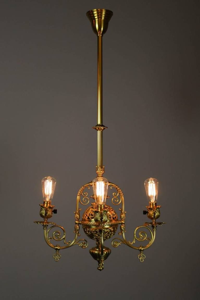 Victorian filigree converted gas electric fixture four light for sale on an exceptionally rare and decorative victorian filigree converted gas light fixture circa this beautiful light has been cleaned and restored arubaitofo Images