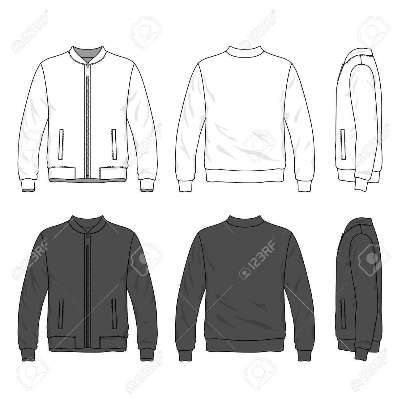 Front Back And Side Views Of Blank Bomber Jacket With Zipper Affiliate Views Side Front Blank Zipper Jaket Bomber Jaket Pria Jaket [ 1300 x 1300 Pixel ]
