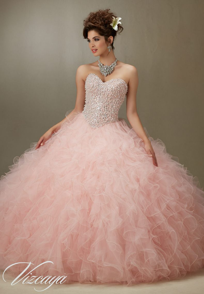 Quinceanera Dress 89067 Embroidery and Beading on a Tulle Ball ...