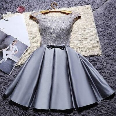 YRPX#Lace up grey & wine red short bridesmaid dresses plus size new spring summer wedding party prom dress 2019 cheap wholesale