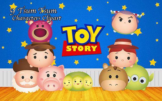 Disney Tsum Tsum Clipart 9: Toy Story Tsum Tsum Characters. 9 Digital Clipart. Toy