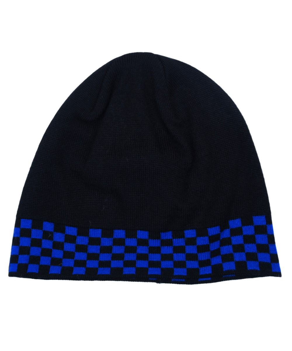 5623c5d0a97ba VERSACE Vha9585 0001 Black Blue Knitted Beanie Wool Blend Hat .  versace   hats