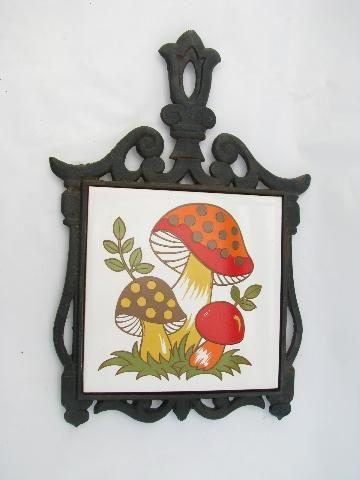 Mod Mushrooms Retro 70s Vintage Tile Cast Iron Kitchen Trivet Mushroom Decor Vintage Tile Stuffed Mushrooms