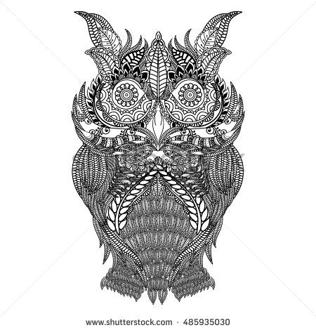 Hand Drawn Black White Illustration Owl Fly Bird Art Coloring Book Page Cute