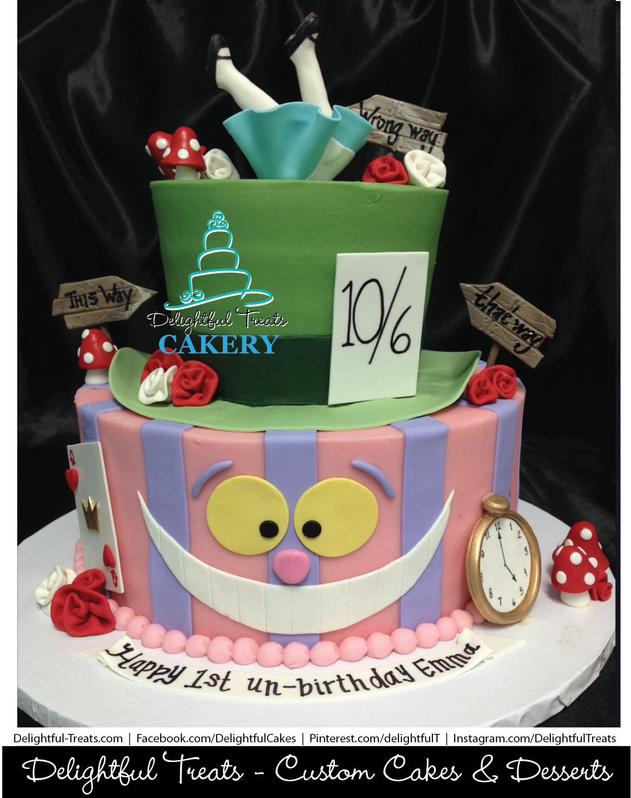 Mad Hatter Alice In Wonderland 1st Birthday Cake With Smash By Delightful Treats Cakery Orlando
