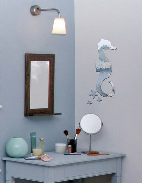 sea horse mirror sticker on the wall for modern bathroom decorating ideas