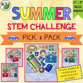 It can be so difficult to keep kids engaged in the last weeks of the school year. Summer STEM challenges are here to the rescue!The basic premise: Individually or in partners, students will select items to pack for a road trip. In this 2-D simulation of a 3-D task, students arrange items with different point values into pre-defined car trunk spaces.