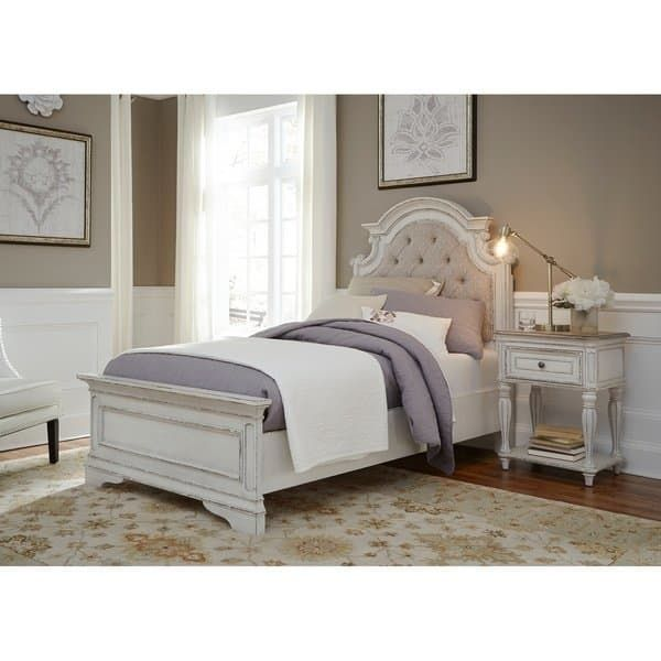 Magnolia Home Antique White Upholstered Bed (Queen), Ivory